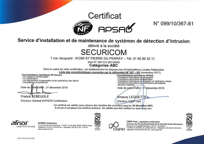 certification securicom R81